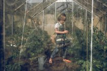 Boy listening to music in greenhouse — Stock Photo