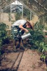 Boy watering plants in greenhouse — Stock Photo