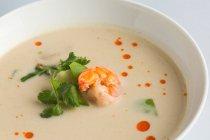Sopa japonesa de miso con gambas - foto de stock