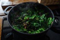 Приготовление шпината листья в кастрюле на газовой плите — стоковое фото