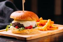 Gros plan de burger frais avec la galette de viande et de légumes placé sur planche de bois avec frites Français sur planche de bois — Photo de stock