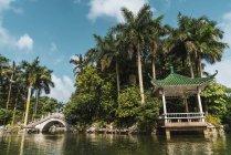 Ponte orientale in pietra nel parco tropicale, Nanning, Cina — Foto stock
