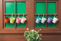 Wooden cabin windows with colorful plant pots and potted plant — Stock Photo