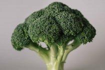 Nahaufnahme von strukturiertem frischem grünen Brokkoli auf grauem Hintergrund — Stockfoto