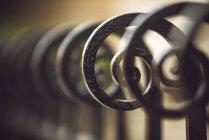 Close-up of iron black ornamental fence — Stock Photo