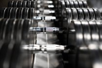 Close-up of iron dumbbells in line in gym — Stock Photo