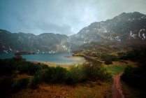 Breathtaking view of small lake with clean water located near beautiful green mountains on cloudy weather in countryside in Asturias, Spain — Stock Photo