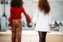 Two interracial women holding hands walking in the streets — Stock Photo