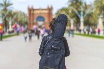 Vista posteriore di una giovane hipster che passeggia in un parco nella giornata di sole mentre porta una chitarra sul retro — Foto stock