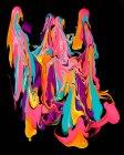 Pintura gruesa de varios colores brillantes que fluyen y se mezclan entre sí - foto de stock