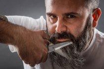 Barba da barbiere espressiva — Foto stock