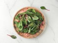 Hojas de acelga verde fresca en placa de madera sobre fondo de mármol blanco - foto de stock