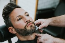 Closeup of barber with comb and trimmer cutting beard of male sitting in barbershop on blurred background — Stock Photo