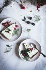 Pieces of lime pie with fresh berries on plates on white marble surface — стоковое фото