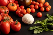 Ripe red tomatoes and basil leaves for salad on black background near ball of fresh mozzarella cheese - foto de stock