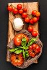 Tomates frescos maduros, hojas de mozzarella y albahaca sobre trozo sin madera sobre fondo negro - foto de stock