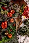 Conjunto de vários legumes frescos e guardanapos de pano rústico na mesa na cozinha — Fotografia de Stock