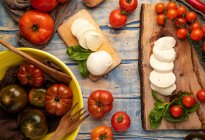 Fresh tomatoes and mozzarella cheese with basil leaves for salad on wooden board and fabric — Stock Photo