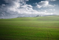 Vista panorâmica de infinitos campos verdes sob luz solar brilhante, Itália — Fotografia de Stock