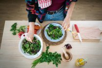 Hands of woman preparing vegetables while cooking healthy salad in kitchen - foto de stock