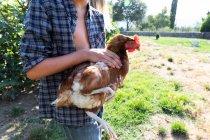 Adolescente niño y en camisa a cuadros y vaquero gallina de mascotas cortas mientras está de pie cerca de los arbustos verdes en el día soleado en la granja - foto de stock
