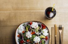 Vegetable salad with onion greens and cream sauce served on plate on wooden table — Stock Photo