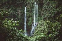 Hautes falaises vertes avec cascade, Bali — Photo de stock