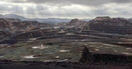 Landschaft Blick auf Bergbau-Terrassen in Hügeln von Riotinto, huelva — Stockfoto