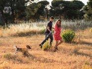 Coppia allegra che corre con piccolo cane amichevole tra erba gialla in parco — Foto stock
