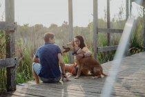 Веселая пара отдыхает с собакой в сельской местности — стоковое фото