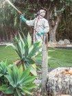 Фумигатор в белой униформе, распыляющий вещество в саду — стоковое фото