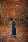 Affascinante donna triste in abito blu in piedi su vicolo cosparso di foglie nel parco autunnale con alberi in arancio rosso bruno fogliame — Foto stock