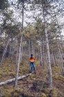 De mulher abaixo confiante em roupas quentes e chapéu andando ao longo log no outono floresta sempre verde — Fotografia de Stock