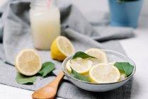 Кусочки свежего лимона в миске со льдом украшены зелеными листьями на размытом фоне — стоковое фото