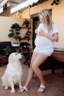Content pregnant woman wearing white home t shirt and shorts drinking coffee at terrace in morning with labrador dog — Stock Photo