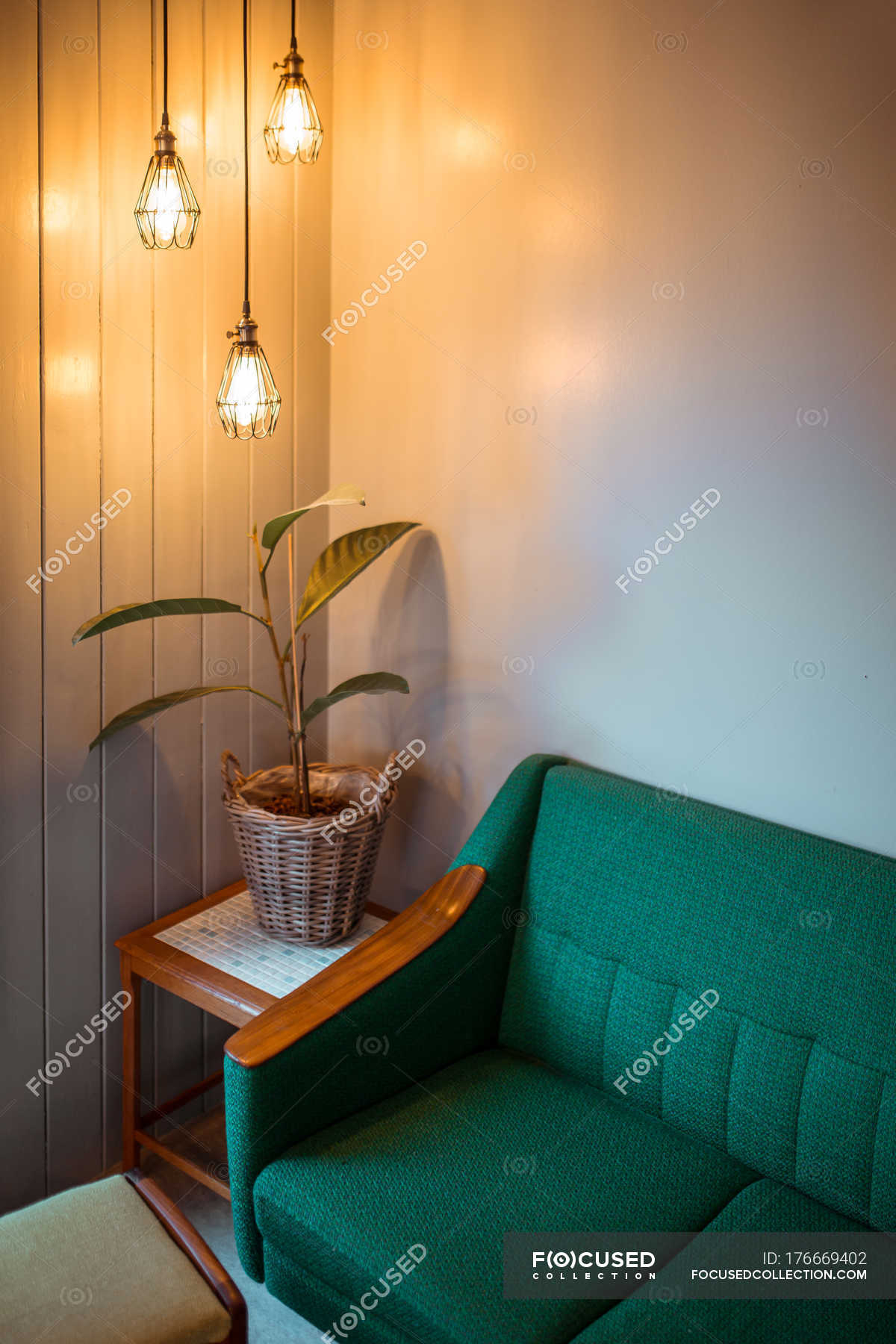 Corner Of Living Room With Potted Plant Lighted By Modern