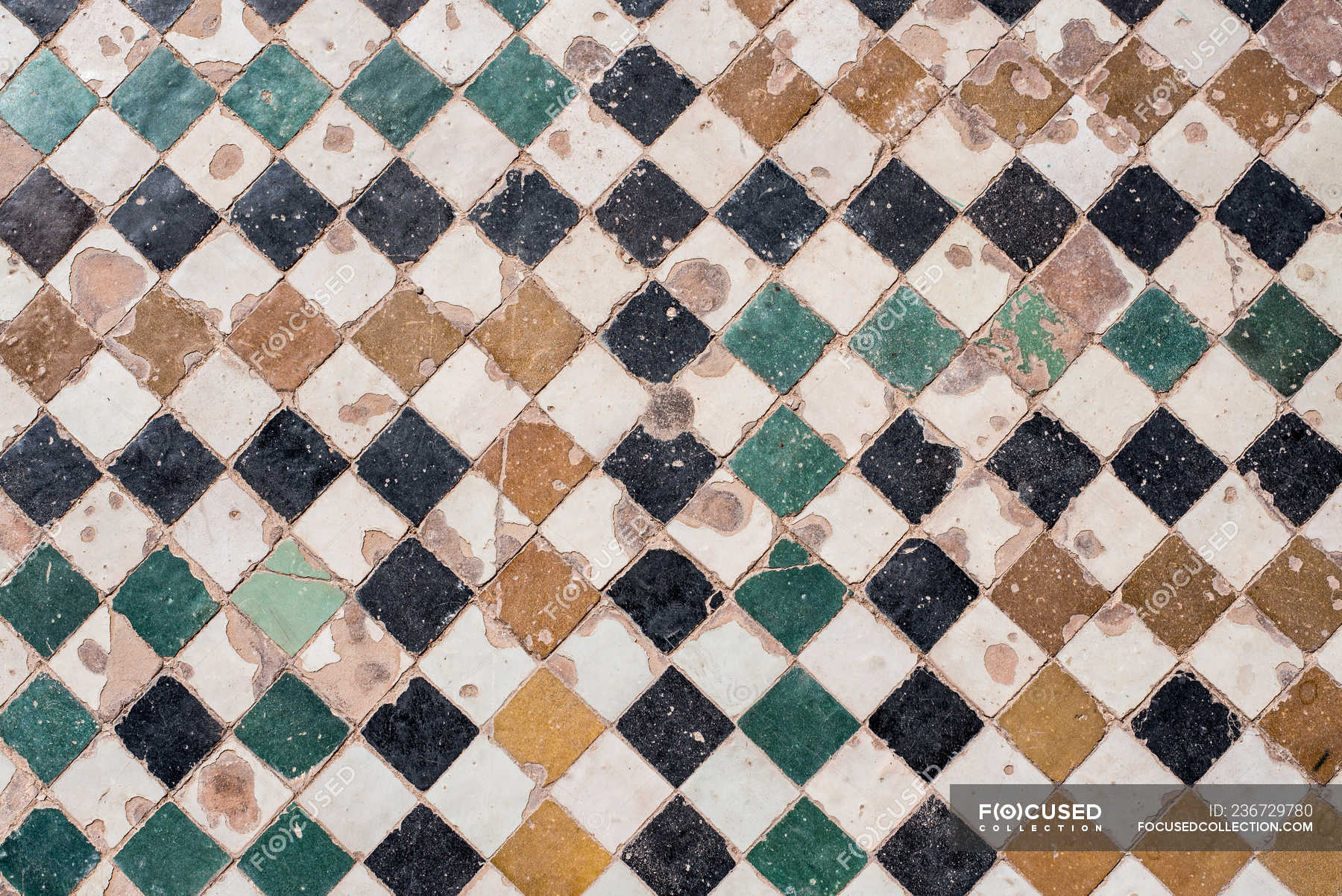 Vintage Handmade Ceramic Tiles Full Frame Interior Oriental Stock Photo 236729780