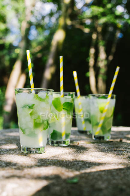 Close-up view of glasses with mojito — Stock Photo