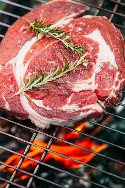 Сире м'ясо на грилі — стокове фото