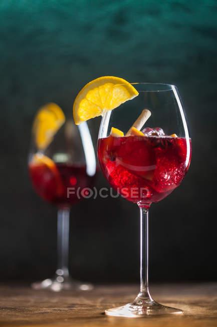 Glasses of spanish sangria — Stock Photo