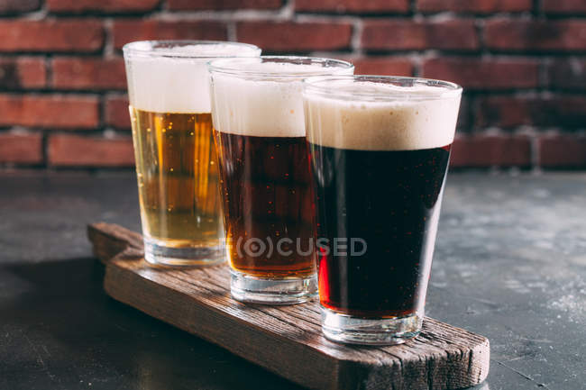 Set of glasses of beer — Stock Photo