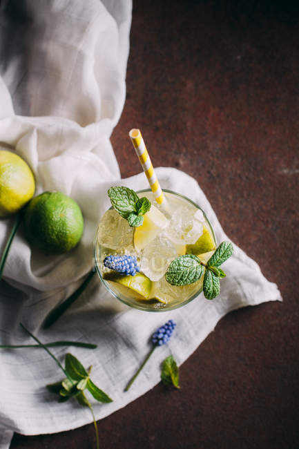 Glass with mojito cocktail — Stock Photo