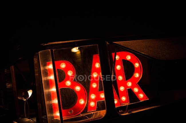 Red bar signboard — Stock Photo