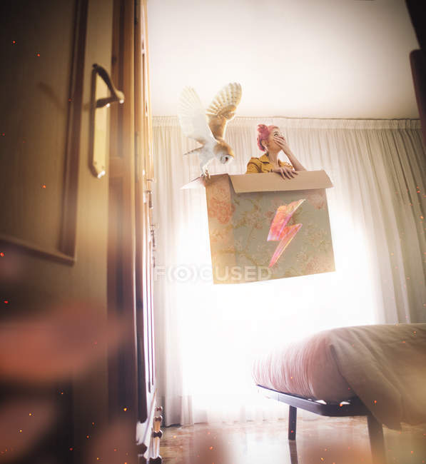 Frau schwebt in Box mit Eule — Stockfoto
