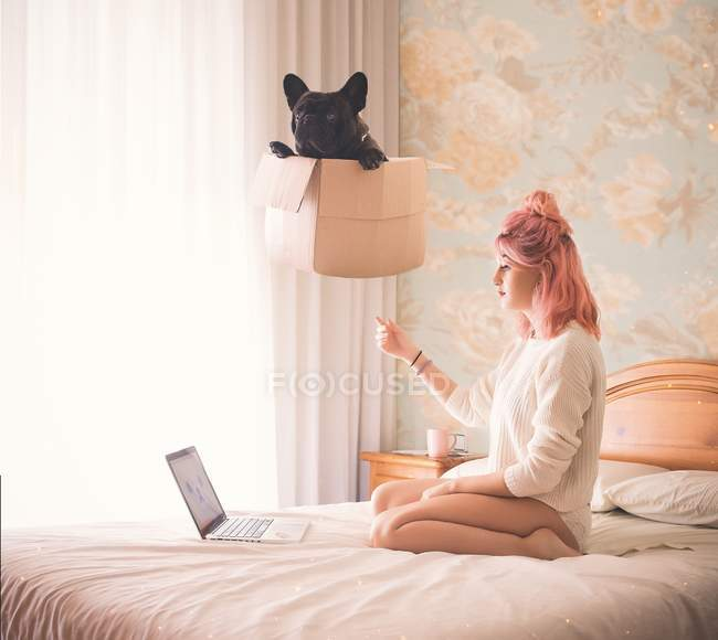 Mujer con perro negro levita encima de la cabeza - foto de stock