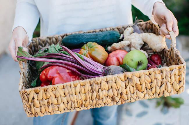 Manos sosteniendo la cesta con frutas y verduras - foto de stock