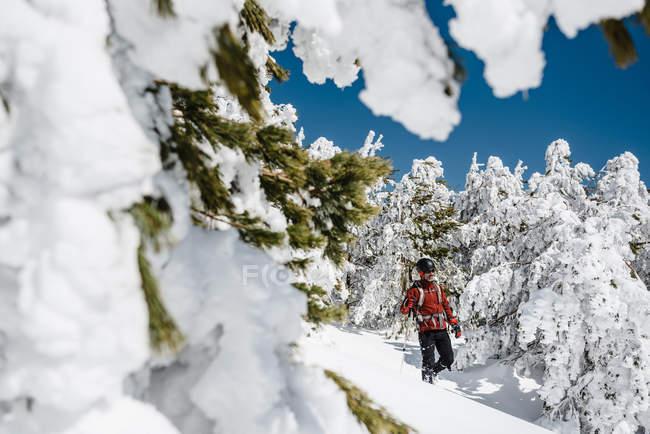 Homem trekking na montanha nevada — Fotografia de Stock