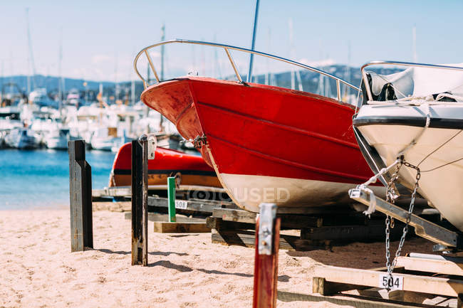 Sailboats in dry dock — Stock Photo