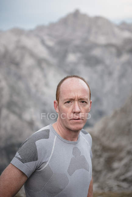 Man during run cross country — Stock Photo
