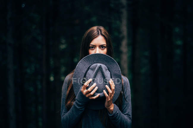 Girl with grey hat — Stock Photo